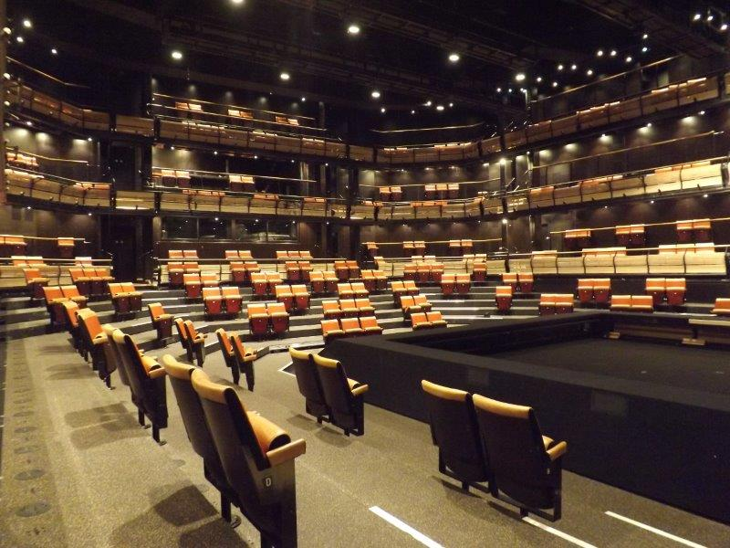 Picture of the Bridge Theatre auditorium with seats removed for social distancing – angle 1