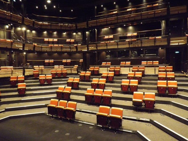 Picture of the Bridge Theatre auditorium with seats removed for social distancing – angle 3